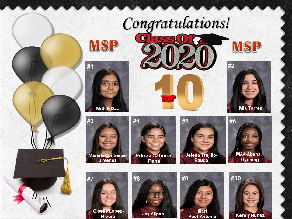 Congratulation MSP Class of 2020 #1Mithily Das #2Mia Torres #3Mariela Contreras-Jimenez #4Edixza Cabrera-Pena #5Jelena Trujillo-Rauda #6MAA-Abena Gyening #7Giselle Rivera-Lopez #8Joy Akpan #9 Iliari Poot-Antonio #10Kerely Nunez